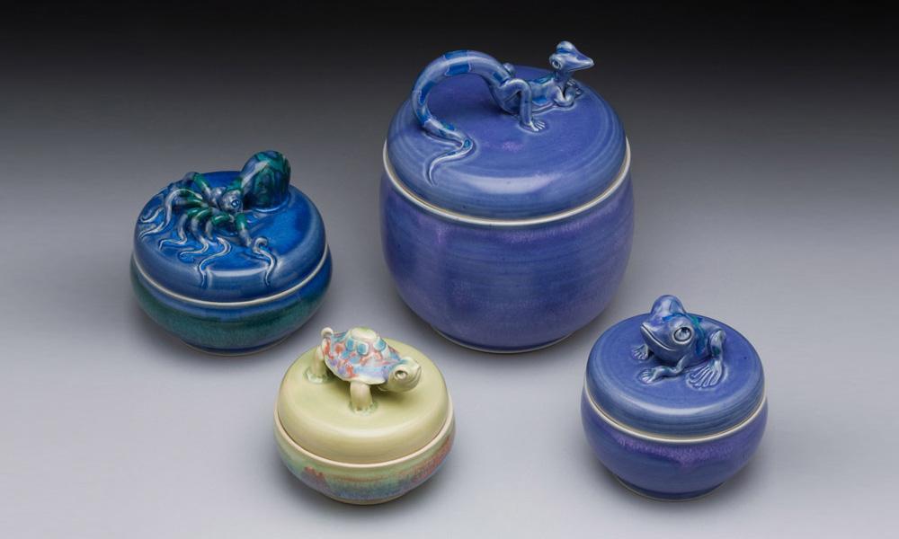 Frog, Lizard, Turtle, & Octopus Covered Jars